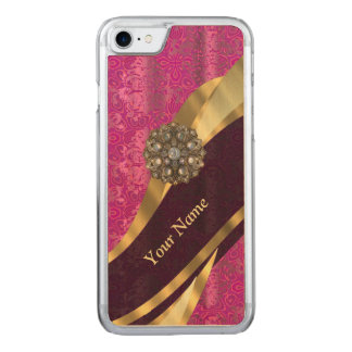 hot pink damask pattern carved iPhone 8/7 case