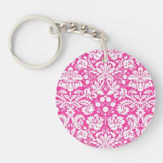 Hot pink damask pattern Double-Sided round acrylic key ring