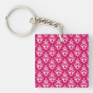 Hot Pink Damask Pattern Double-Sided Square Acrylic Key Ring