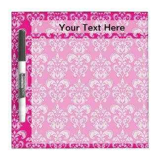 Hot pink damask pattern dry erase board