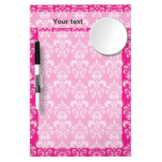 Hot pink damask pattern dry erase board with mirror