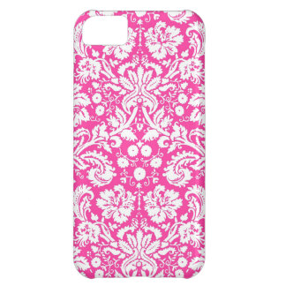 Hot pink damask pattern iPhone 5C case