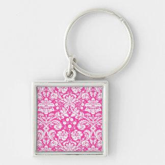 Hot pink damask pattern key chains