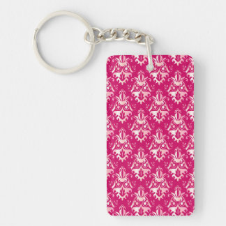 Hot Pink Damask Pattern Double-Sided Rectangular Acrylic Keychain