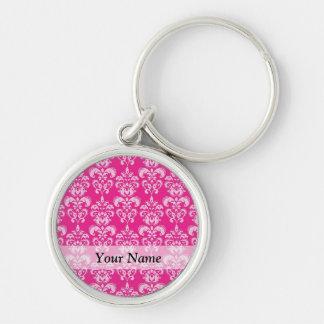 Hot pink damask pattern keychain
