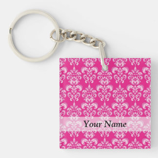 Hot pink damask pattern Double-Sided square acrylic keychain