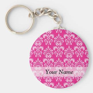 Hot pink damask pattern key chain