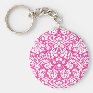 Hot pink damask pattern keychains