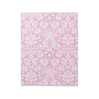 Hot pink damask pattern notepad