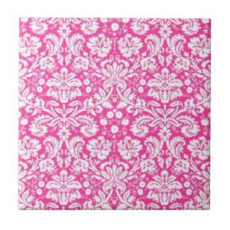 Hot pink damask pattern small square tile