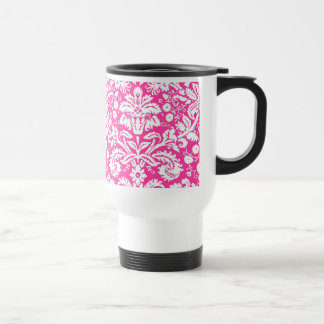 Hot pink damask pattern travel mug