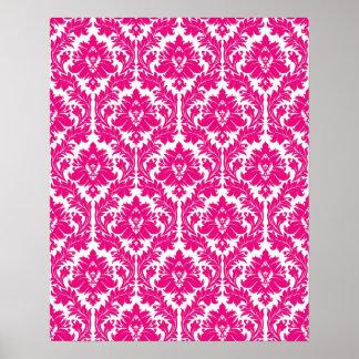 Hot Pink Damask Poster
