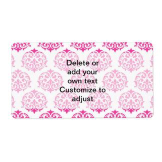 Hot pink damask shipping label