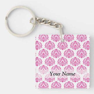 Hot pink damask Single-Sided square acrylic key ring