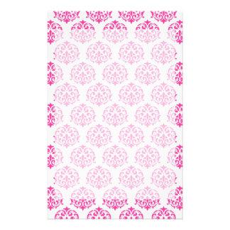 Hot pink damask stationery