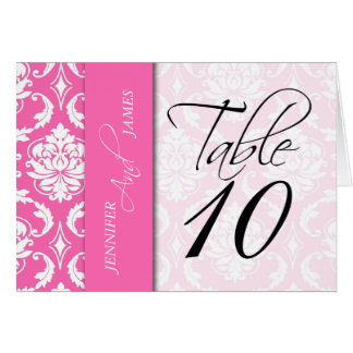 Hot Pink Damask Table Number Card Names