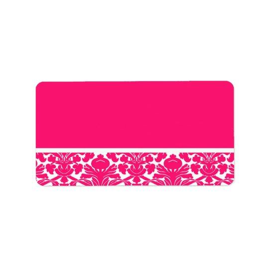 Hot Pink Damask Wedding Address Labels