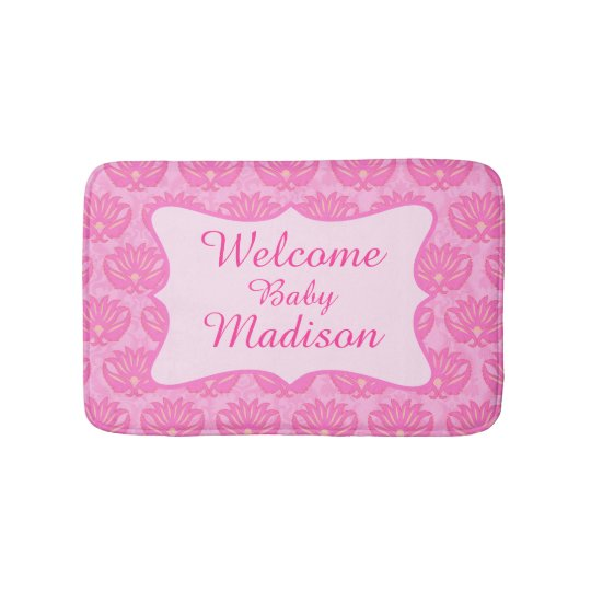 Hot Pink Damask Welcome Name Personalised Baby Rug