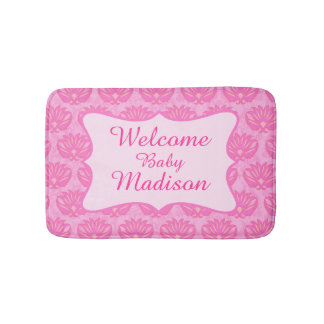 Hot Pink Damask Welcome Name Personalized Baby Rug
