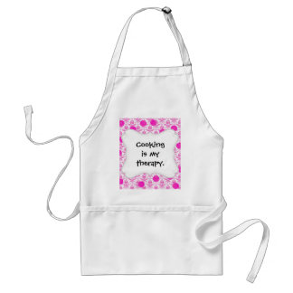 Hot Pink Damask with Pink Polka Dots Adult Apron