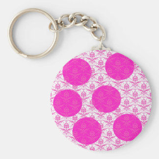 Hot Pink Damask with Pink Polka Dots Basic Round Button Key Ring