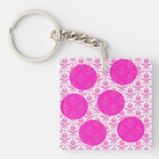 Hot Pink Damask with Pink Polka Dots Double-Sided Square Acrylic Key Ring
