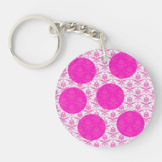 Hot Pink Damask with Pink Polka Dots Double-Sided Round Acrylic Keychain