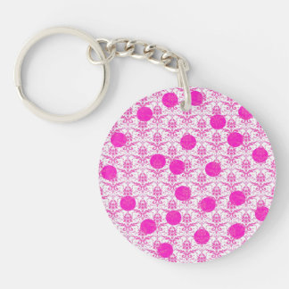 Hot Pink Damask with Pink Polka Dots Acrylic Keychains