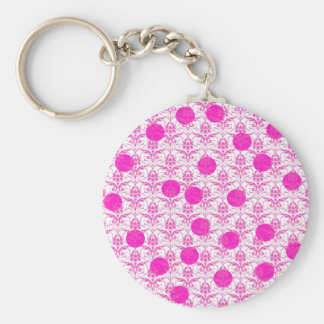 Hot Pink Damask with Pink Polka Dots Keychain