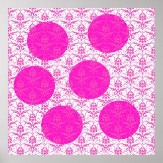 Hot Pink Damask with Pink Polka Dots Print