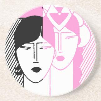 Hot Pink Deco Beauty Shop Sandstone Coaster
