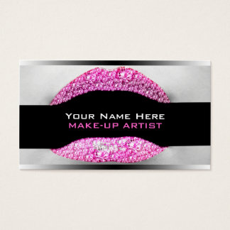 Hot Pink Diamond Bling Make-Up Artist Biz Card