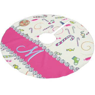 Hot Pink Diamond Candy Cane Monogram Brushed Polyester Tree Skirt