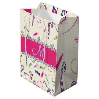 Hot Pink Diamond Candy Cane Monogram Medium Gift Bag