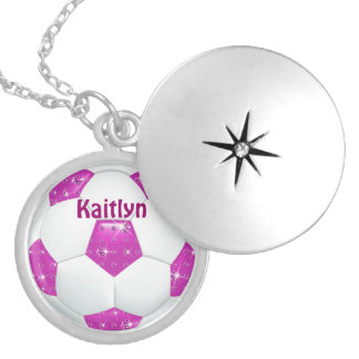 Hot Pink Diamond Gemstones Soccer Ball Locket Necklace
