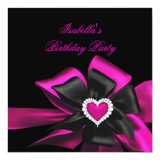 Hot Pink Diamond Heart Black Bow Birthday Party Card