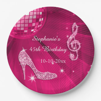 Hot Pink Disco Ball and Heels 45th Birthday 9 Inch Paper Plate