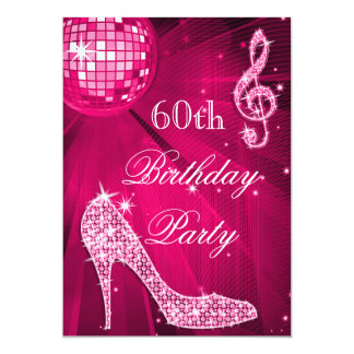 Hot Pink Disco Ball Sparkle Heels 60th Birthday Card