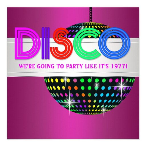 Hot Pink Disco Party Invitations