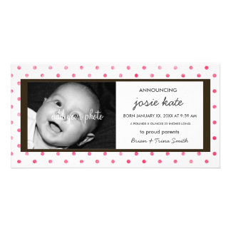 Hot Pink Dots Birth Announcement Custom Photo Card