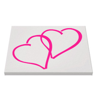 Hot Pink Double Hearts Canvas Print