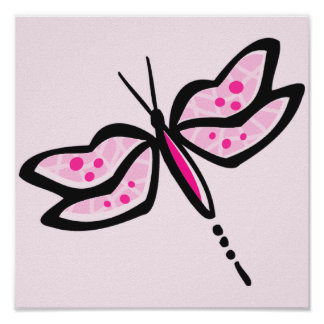 Hot Pink Dragonfly Poster