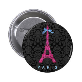 Hot Pink Eiffel Tower in faux glitter 6 Cm Round Badge