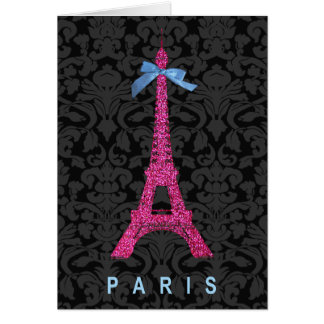 Hot Pink Eiffel Tower in faux glitter Greeting Card