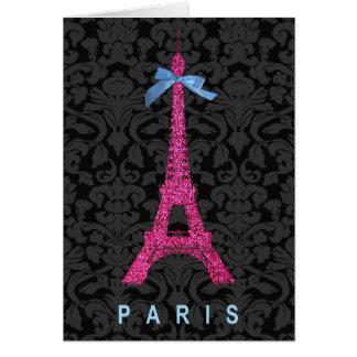 Hot Pink Eiffel Tower in faux glitter Card