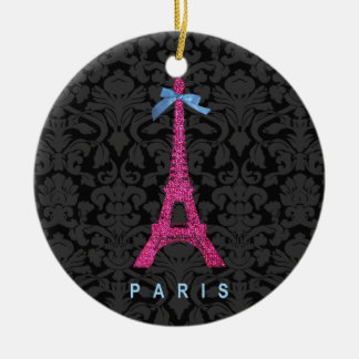Hot Pink Eiffel Tower in faux glitter Christmas Ornament