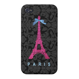 Hot Pink Eiffel Tower in faux glitter Covers For iPhone 4