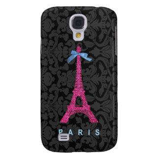 Hot Pink Eiffel Tower in faux glitter Galaxy S4 Case