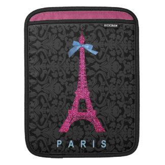 Hot Pink Eiffel Tower in faux glitter iPad Sleeve