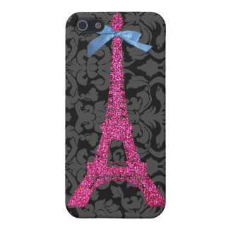 Hot Pink Eiffel Tower in faux glitter iPhone 5 Case